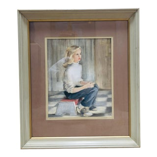 Ann Hebenstreit Young Girl Pastel Portrait Painting For Sale