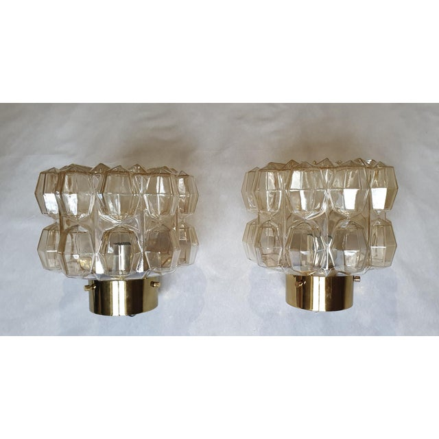 Pair of small stamped & signed Mid Century Modern flush mount lights or wall sconces, by Helena Tynell for Limburg....