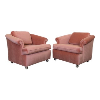 Late 20th Century Vintage Blush Velvet Club Chairs- A Pair For Sale