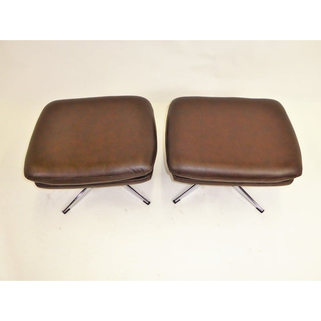 1970s Overman Swivel Foot Stools Benches in Dark Brown Leatherette- A Pair For Sale - Image 10 of 13