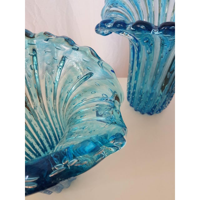 Barovier & Toso Large Blue Murano Glass Mid Century Modern Vases, 1970's, by Barovier E Toso- a Pair For Sale - Image 4 of 9
