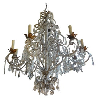 1920s Italian Beaded and Crystal Eight-Light Chandelier For Sale