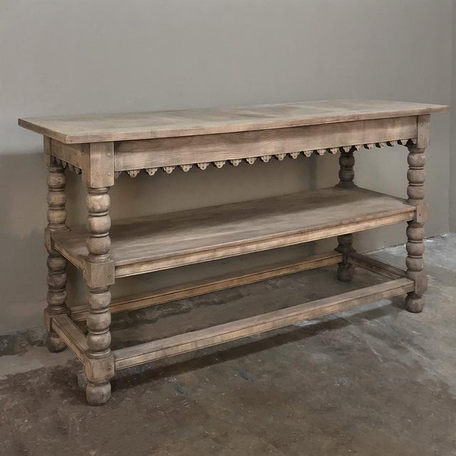 Early 19th Century Early 19th Century Rustic Renaissance Stripped Oak Counter For Sale - Image 5 of 13