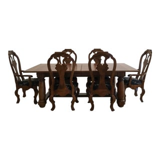 Expandable French-Country Dining Table Set With 8 Dining Chairs For Sale