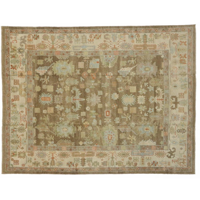 "Turkish Oushak Warm Colors and Pastel Hues Area Rug - 10' X 13'1"" For Sale - Image 4 of 4"
