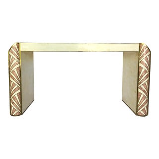 1980s Boho Chic Maitland Smith Coral Stone and Brass Inlay Console For Sale