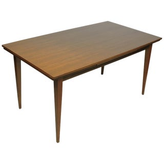 Mid-Century Modern Walnut German Extendable Dining Table Danish Style For Sale