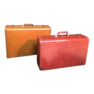 Vintage Samsonite Leather Luggage - Set of 2 For Sale