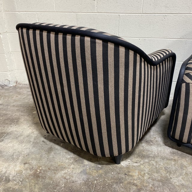 """""""Fendi"""" Striped Club Chair's - a Pair For Sale In Richmond - Image 6 of 12"""