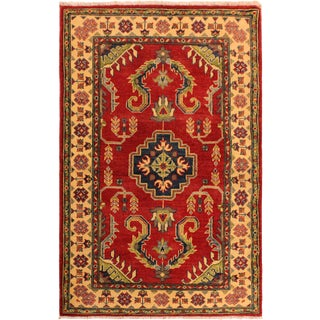 Persian Kazak Aida Red/Ivory Hand-Knotted Wool Rug For Sale
