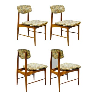 1960s Vintage Danish Modern Walnut Upholstered Dining Chairs - Set of 4