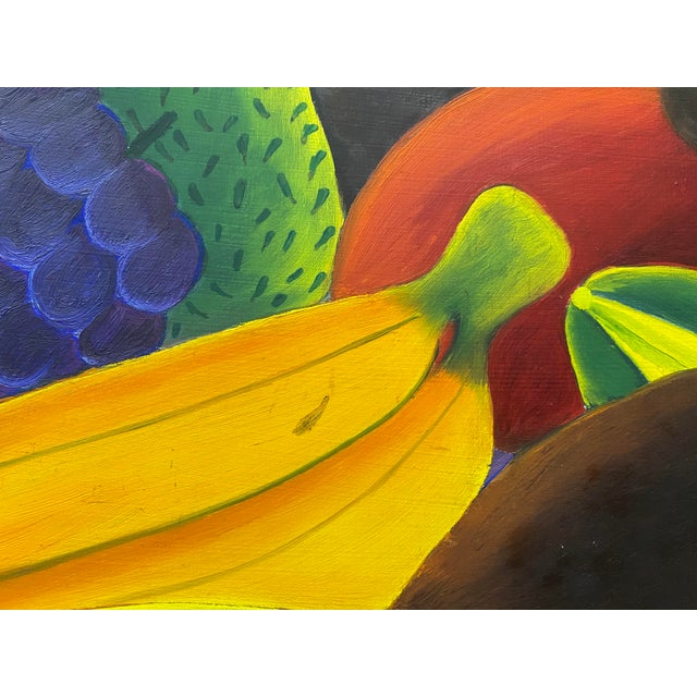 """Purple Haitian Artist Alberoi Bazile """"Fruit"""" Still Life Oil Painting in Hand Carved Frame C.1970 For Sale - Image 8 of 13"""