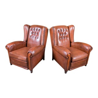 French Leather Tufted Nail Trim Wing Chairs With Reversible Cushions - a Pair For Sale