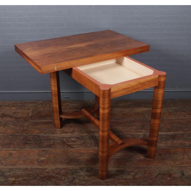 1930s Art Deco Walnut Folding Tea Table For Sale - Image 9 of 12