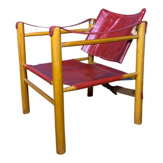 1980s Vintage Red Leather and Birch Safari Chair For Sale