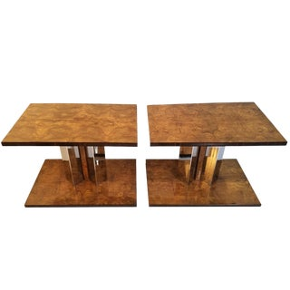 1930s Art Deco Style Burl Wood End Tables-a Pair For Sale