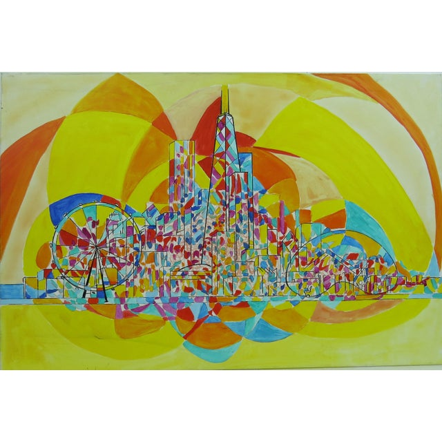 Impressionist 2013 Pia Bacca Post Impressionist Oil on Canvas of Chicago Cityscape For Sale - Image 3 of 9
