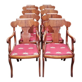 Set of Eight Late 19th Century Walnut Dining Chairs C.1880s For Sale