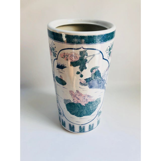 Chinoiserie Vintage Chinoiserie Pink, Blue, Lavender & Green Chinese Porcelain Umbrella Holder For Sale - Image 3 of 8