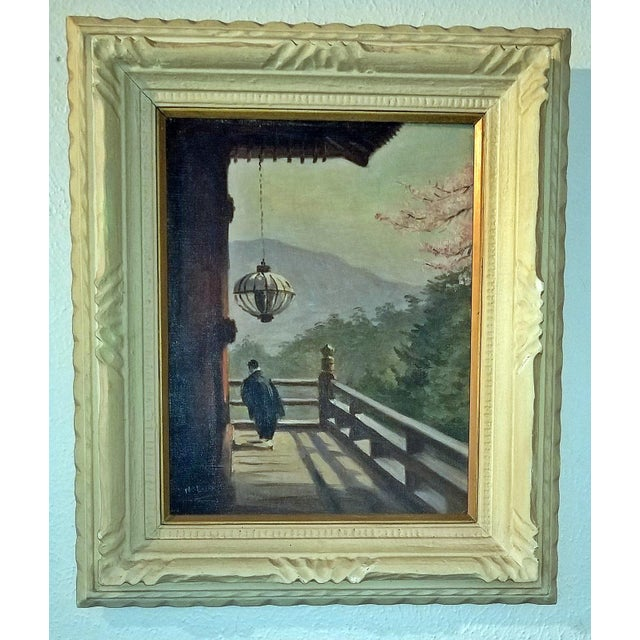 Asian Hiyashi NoBuo Oil on Canvas - Cherry Blossom Deck For Sale - Image 3 of 6