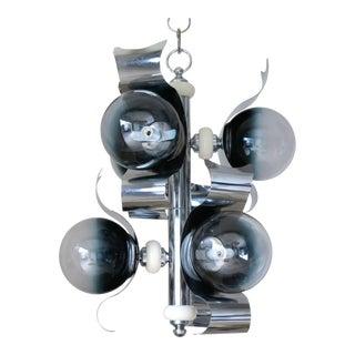1960s Murano Glass Globe Chrome Pendant by Sciolari For Sale