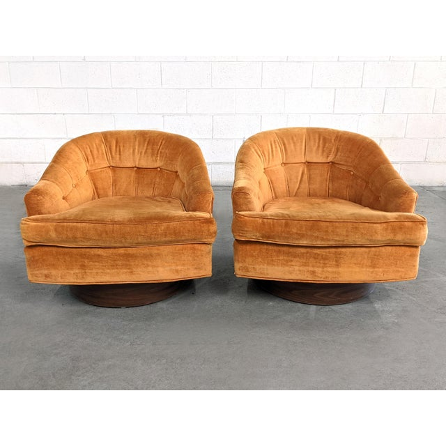 Mid Century Modern Walnut Base Swivel Club Chairs - a Pair For Sale - Image 10 of 10