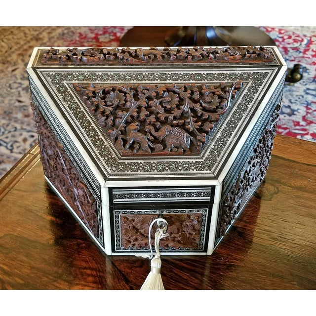 19c Anglo Indian Carved Padouk and Sadeli Stationary Box For Sale In Dallas - Image 6 of 9