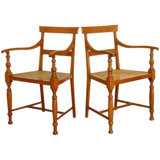 Regency Style Anglo-Indian Colonial Armchairs - A Pair For Sale