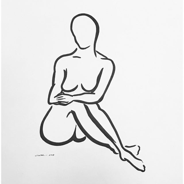 """Contemporary Figurative Original Pen & Ink Drawing """"Lady Like""""Christy Almond For Sale In Charlotte - Image 6 of 7"""
