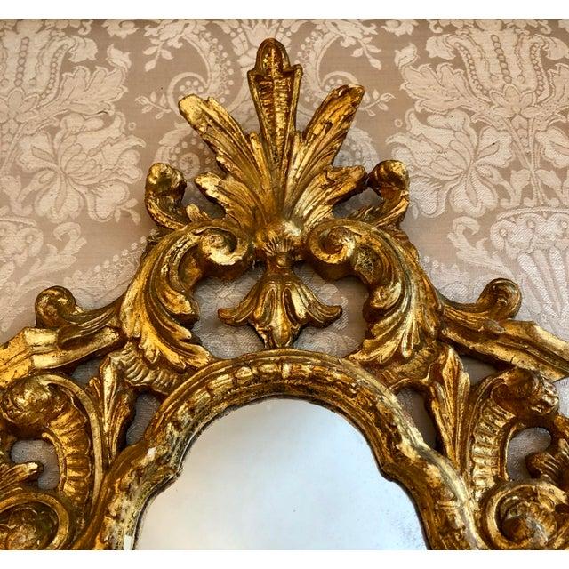 Rococo Italian Cornucopia Gilt Wood Mirror, C. 1890-1930 For Sale - Image 3 of 13