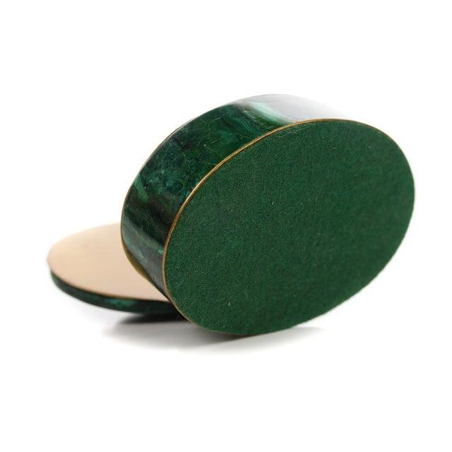 Russian Malachite Oval Compact Jewelry Box - Image 8 of 8
