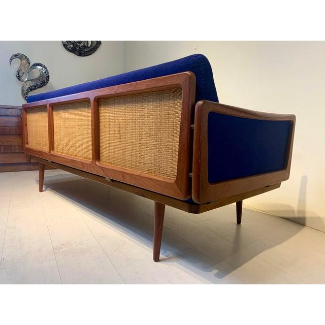 Mid-Century Modern Mid Century Modern Peter Hvidt and Orla Mølgaard for John Stuart Teak & Cane Back Sofa For Sale - Image 3 of 13
