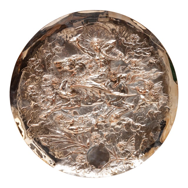 Vintage English Silver Plate Repoussé Charger by Elkington and Co. For Sale