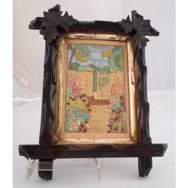Gold Leaf Arts & Crafts - Victorian Silk Embroidery Picture in Black Forest Frame For Sale - Image 7 of 9