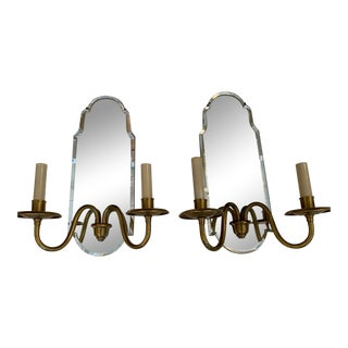 1970s Mirrored and Brass Electrified Candle Sconces - a Pair For Sale