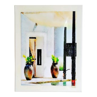 Caliza Cabana - Swimming Pool - Architectural Art - Digital Watercolor Print Sealed With Resin on Canvas by Suzanne MacCrone Rogers For Sale