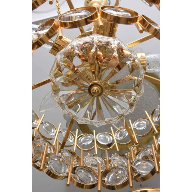Gold Plate and Crystal Chandelier by Palwa For Sale - Image 10 of 12