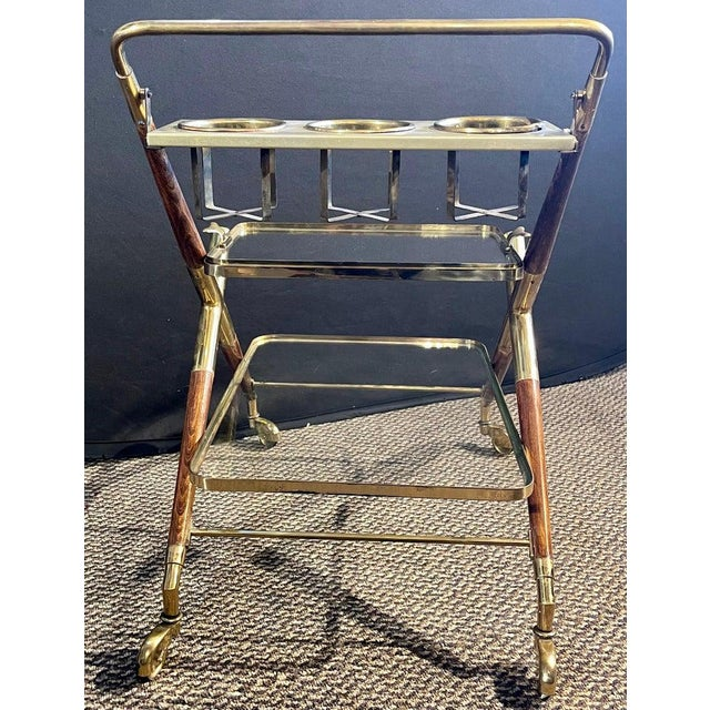 Mid-Century Modern Bar Cart, Teak and Brass For Sale In New York - Image 6 of 13