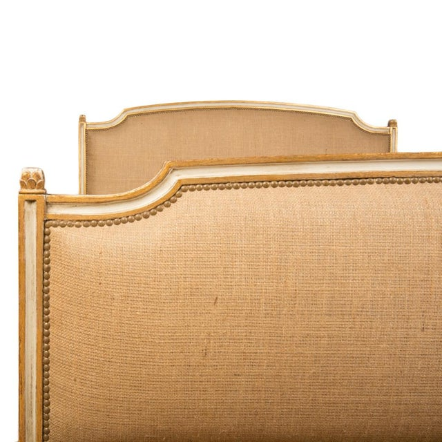 Paint 1940s French Louis XVI Style Painted Burlap Queen Bed For Sale - Image 7 of 8