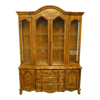 "20th Century French Provincial Bernhardt / Hibriten Furniture Country 60"" Buffet With Lighted China Cabinet For Sale"