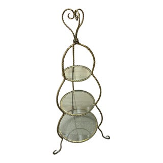 Metal Rope and Glass Three Tiered Large Stand For Sale