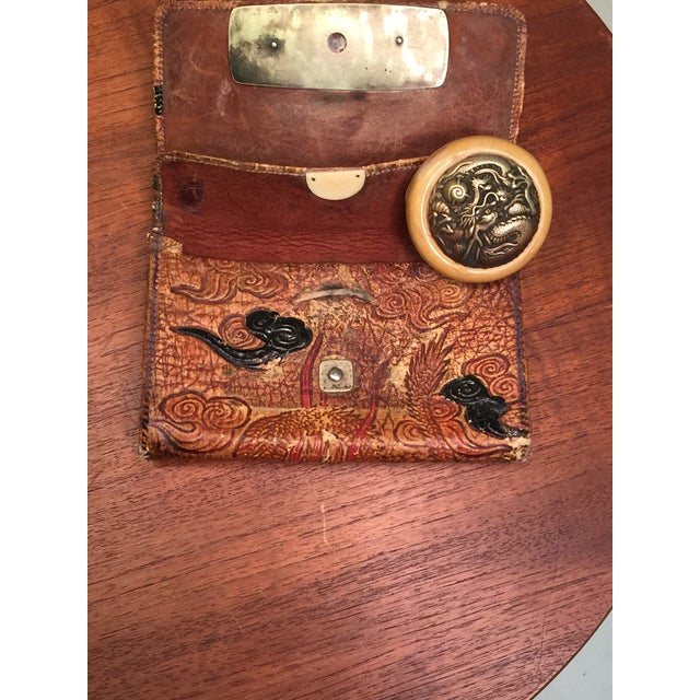Late 19th Century Elaborate Meiji Period Embossed Leather and Silver Tobacco Pouch For Sale In Philadelphia - Image 6 of 13