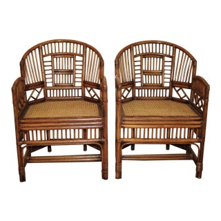 1970s Vintage Bamboo Rattan Brighton Pavilion Chinoiserie Chippendale Chairs- A Pair For Sale