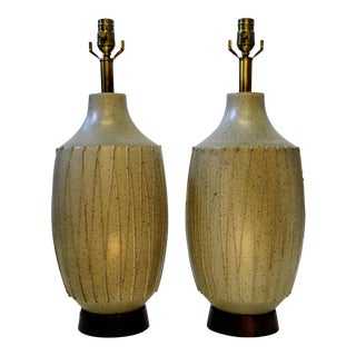 David Cressey Mid Century Modern Pottery Table Lamps - a Pair For Sale