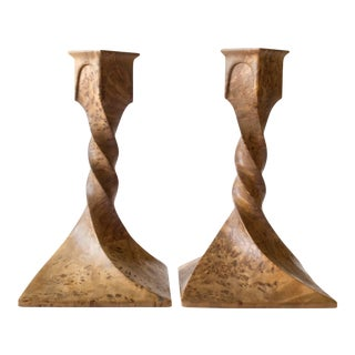 Scandinavian Solid Karelian Birch Twist-Form Jugend Candlesticks - A Pair For Sale