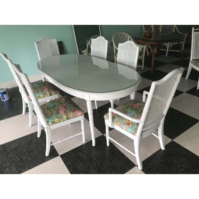 Palm Beach Style White Faux Bamboo Dining Set For Sale - Image 6 of 6