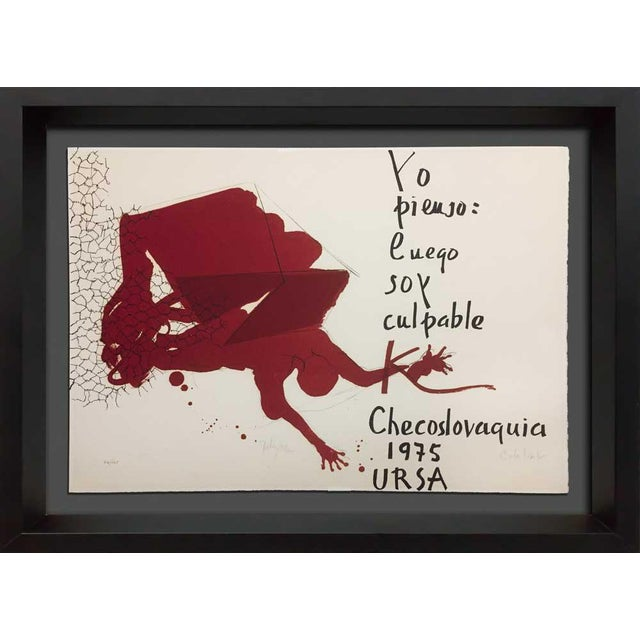"""Paul Rebeyrolle Original Hand Sign Lithograph Ltd Ed. """"I Think."""" W/Frame For Sale In Atlanta - Image 6 of 6"""