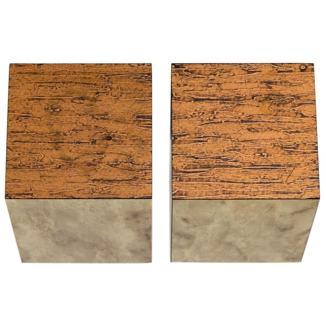 Copper Top Cube Side Tables, a Pair For Sale - Image 4 of 7