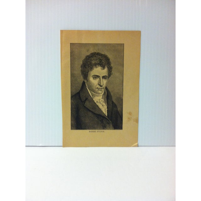 """1880 """"Robert Fulton"""" Successful Self-Made Men Print on Paper For Sale - Image 4 of 4"""