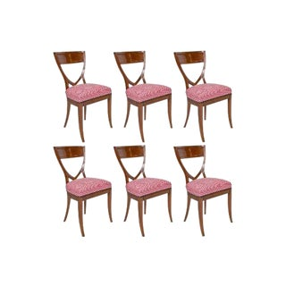 A Set of 6 Biedermeier Mahogany Upholstered Shield Back Dining Chairs With a Brass Inlay For Sale